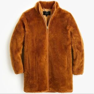 NWT J. Crew zip up Teddy coat in warm brandy